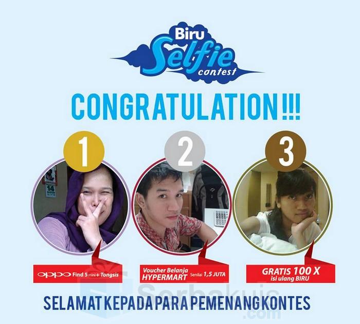 pemenang kontes selfie air minum biru