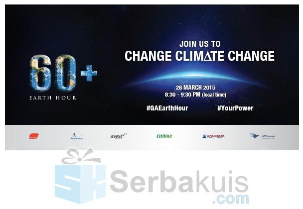 Kuis GA Earth Hour Challenge Berhadiah Tiket Pesawat Rute Domestik