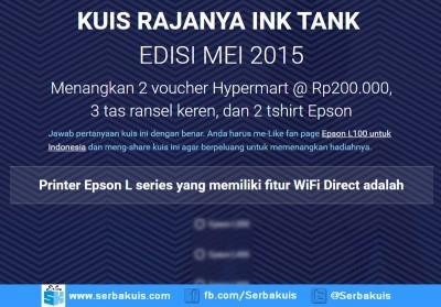 Kuis Rajanya Ink Tank Mei 2015 Berhadiah Voucher Hypermart 400K