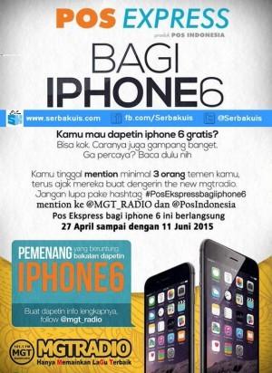 Kuis Twitter Pos Express Berhadiah iPhone 6 Gratis