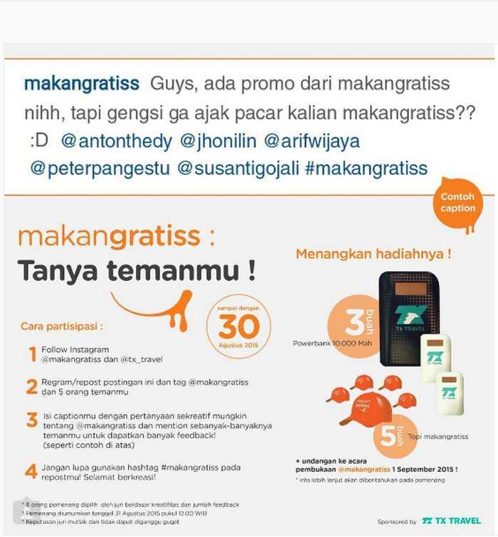 Kuis MakanGratiss Berhadiah 3 Powerbank & Hadiah Menarik Lainnya