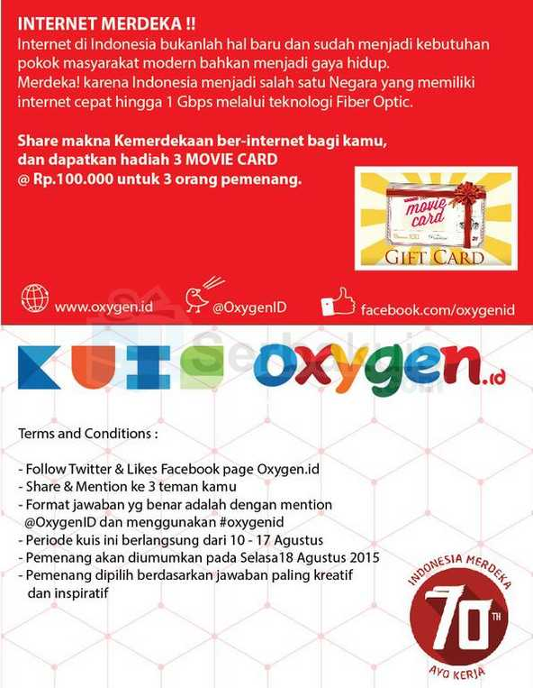 Kuis Twitter Oxygen Berhadiah 3 Movie Card @ 100K