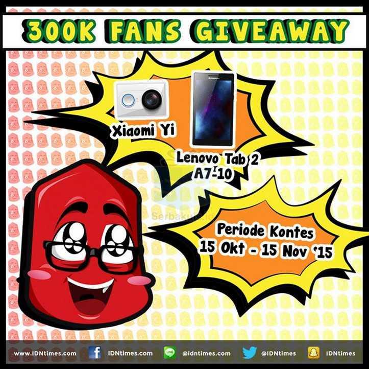 IDNtimes 300K Fans Giveaway Hadiah Xiaomi Yi & Lenovo Tab 2 A7-10