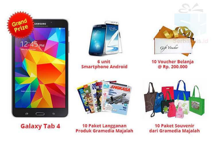 Kuis Survey Gramedia Majalah 2015 Hadiah Samsung Galaxy Tab 4