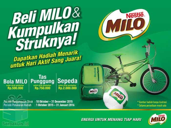 Promo Milo Berhadiah Langsung Sepeda, Tas & Bola