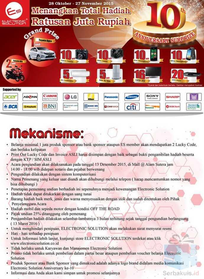 Undian Anniversary Electronic Solution Berhadiah Toyota Agya
