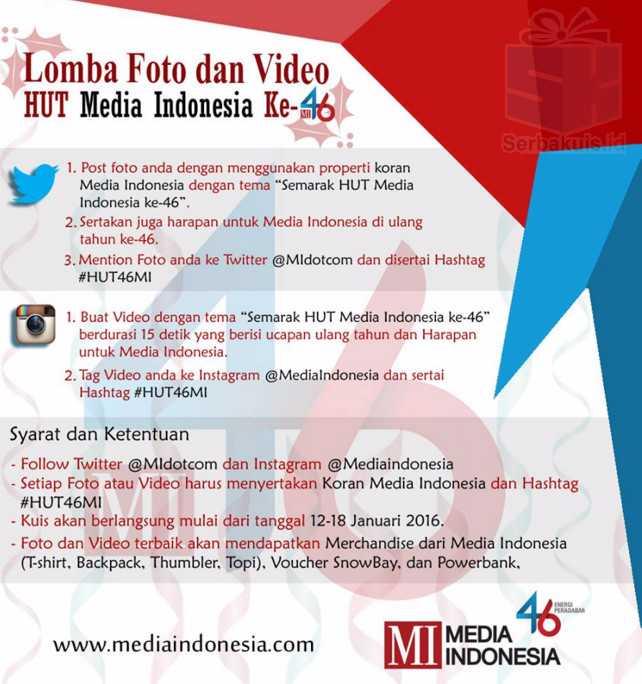 Lomba Foto & Video HUT Media Indonesia Berhadiah Powerbank