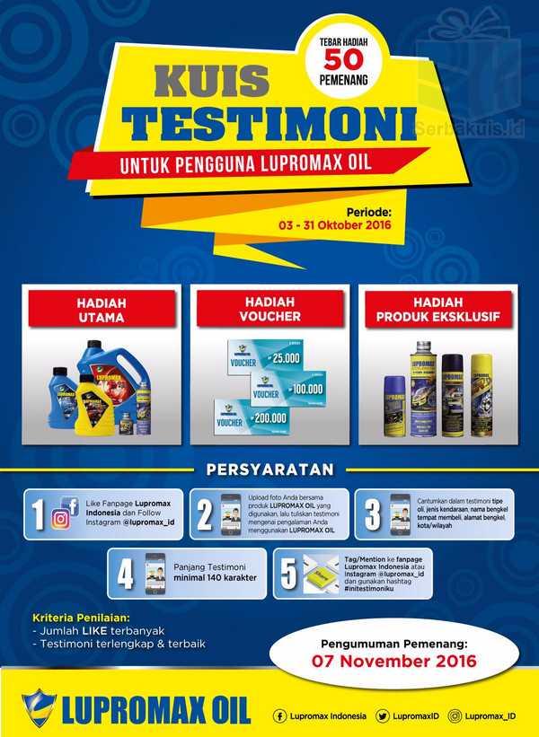 Kuis Testimoni Untuk Pengguna Lupromax Oil