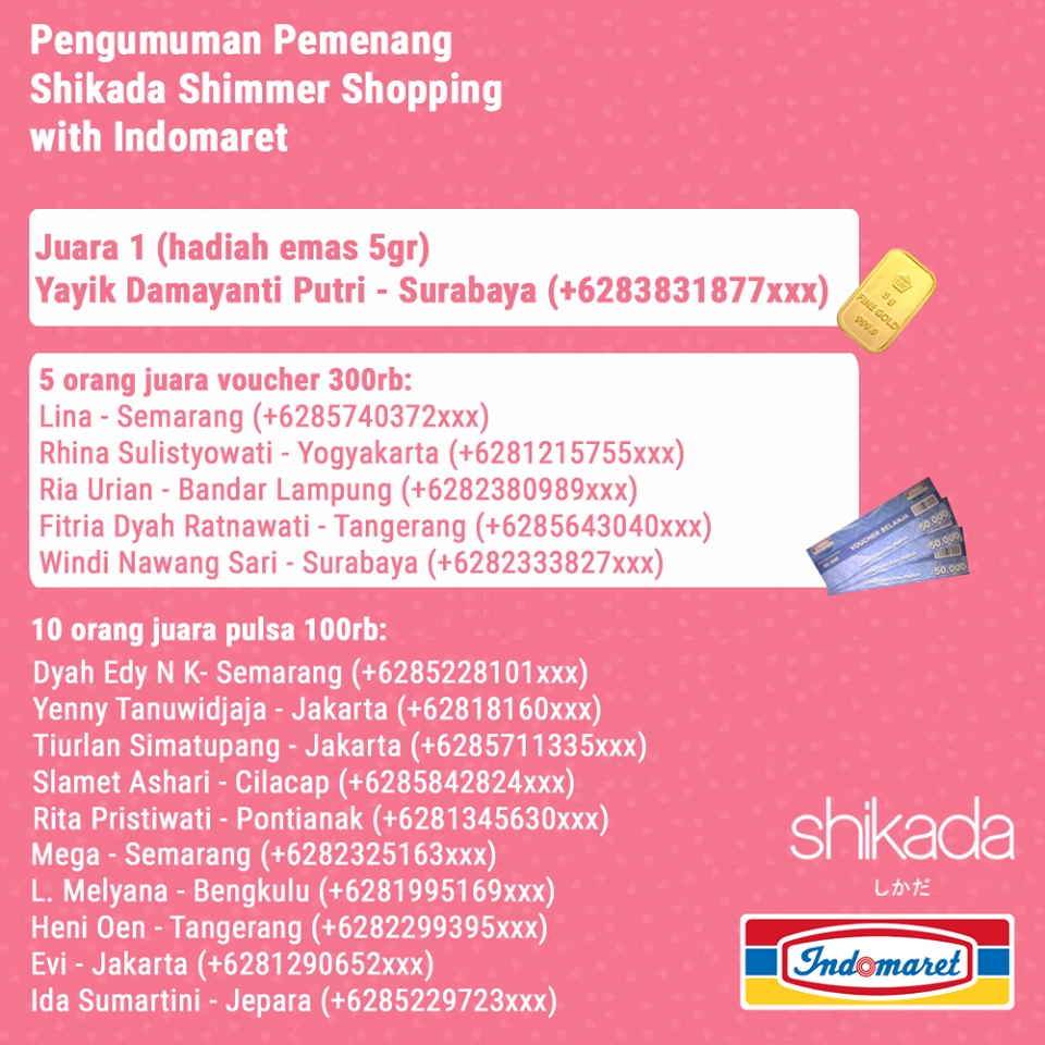 Pemenang Promo Shikada Shimmer Shopping with Indomaret