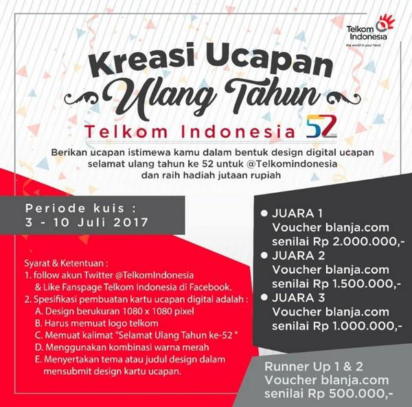 Kreasi Ucapan ulang Tahun Telkom indonesia
