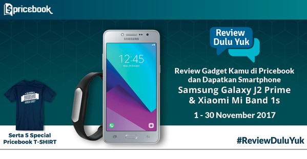 Lomba Review Pricebook November Berhadiah SAMSUNG J2 Prime & Mi Band 1s