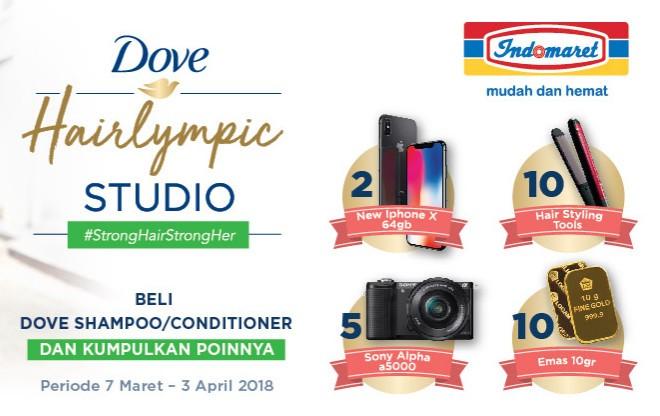 Promo Dove Hairlympic Berhadiah New iPhone X, Sony A5000, Emas & Hair Styling Tools