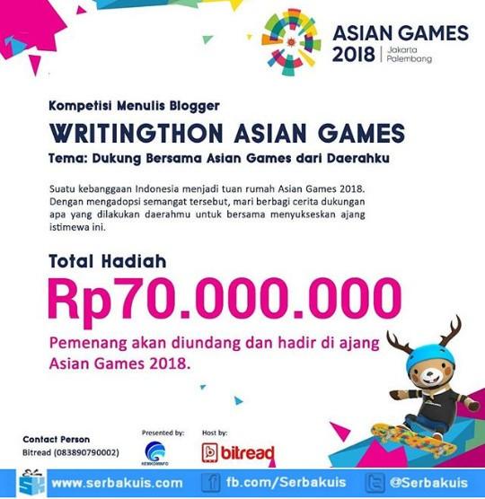 Lomba Blog Dukung Asian Games 2018 Berhadiah Total 70 Juta Rupiah - Asian Games Writingthon