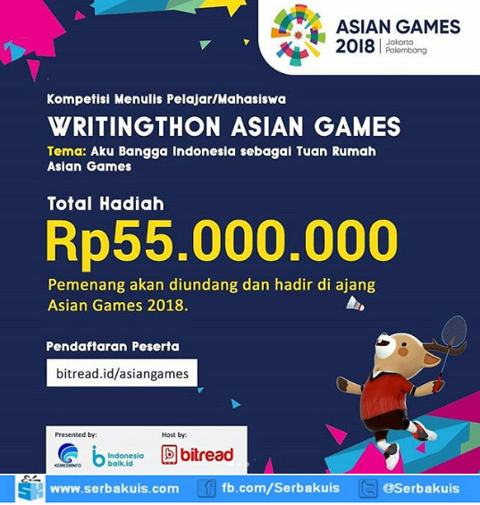 Lomba Menulis Asian Games 2018 Berhadiah Total 55 Juta Rupiah - Asian Games Writingthon