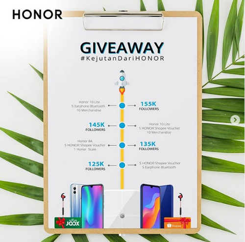 Giveaway Berhadiah Smartphone Honor 8A & 10 Lite. Cukup Follow!