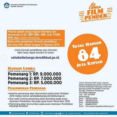 Lomba Film Pendek Kemdikbud Berhadiah Uang Total 84 Juta Rupiah