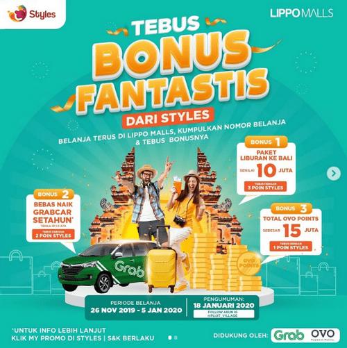 Tebus Bonus Lippo Malls Berhadiah Trip ke Bali, Naik Grabcar 1 Tahun
