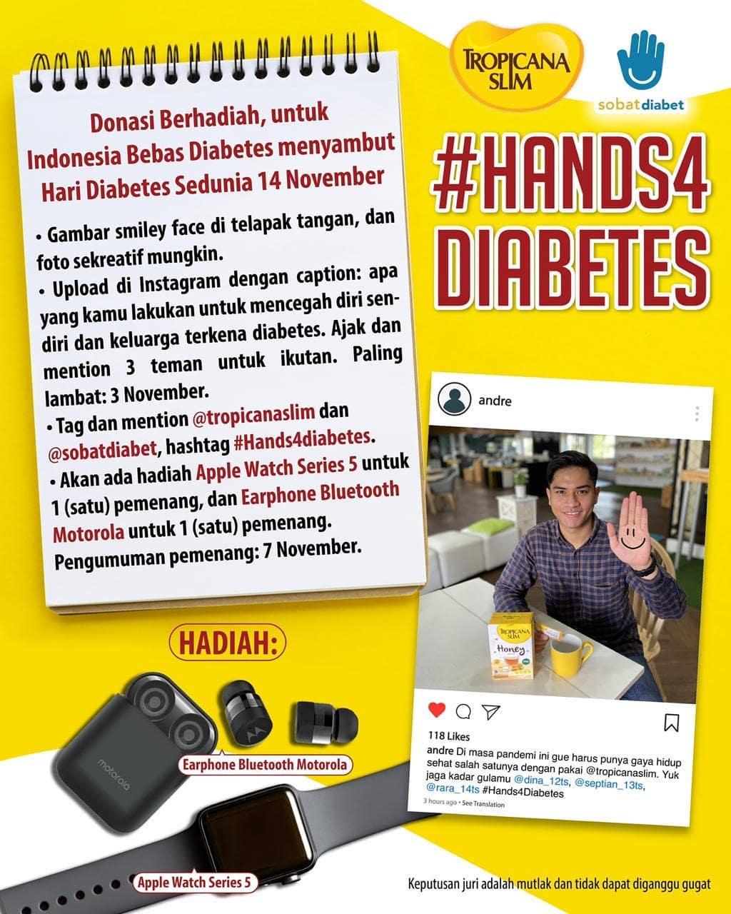 #Hands4Diabetes Tropicana Slim dan Sobat Diabet 2020