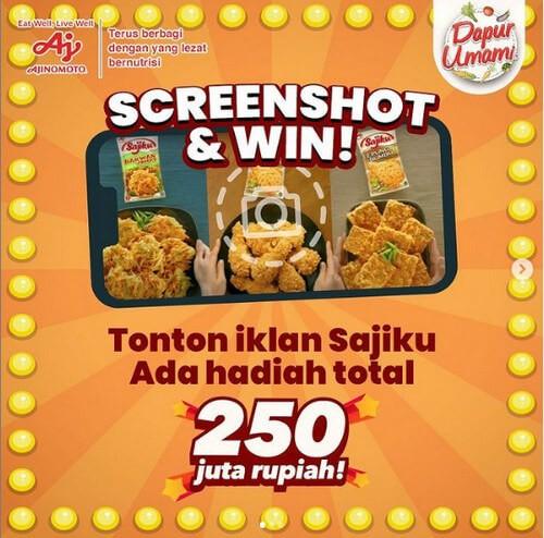Kuis Screenshot Iklan Berhadiah Total 250 Juta Rupiah dari Ajinomoto