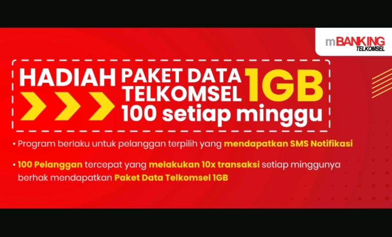 Promo Kejar Poin SMS Banking Hadiah 100 Paket Data Telkomsel 1GB
