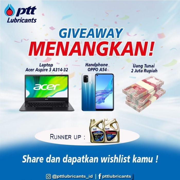 Giveaway PTT Lubricants Edisi Lebaran Hadiah Laptop, HP, dll
