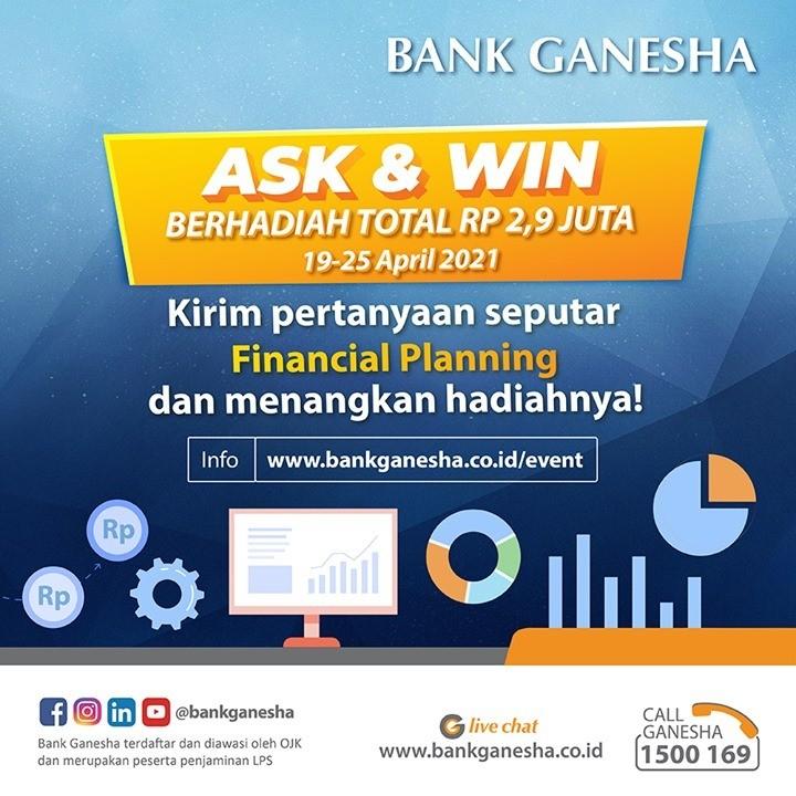 Kuis Ask & Win Bank Ganesha Hadiah Tabungan Total Rp 2,9 JUTA
