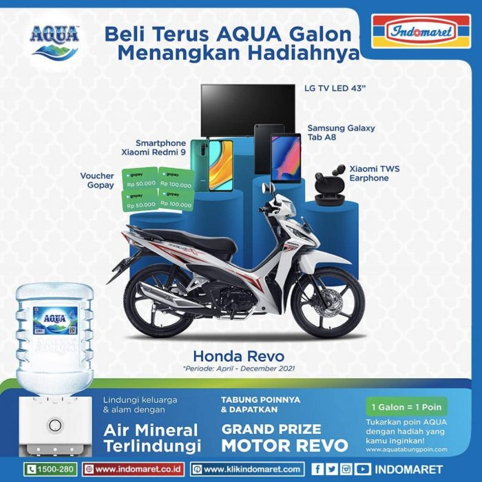 "Promo Poin AQUA Berhadiah Motor, LED TV 43"", Tablet, HP, dll"
