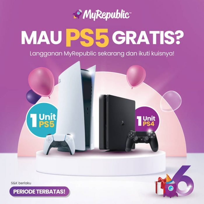 Promo Langganan Internet MyRepublic Berhadiah Playstation 5 & PS4