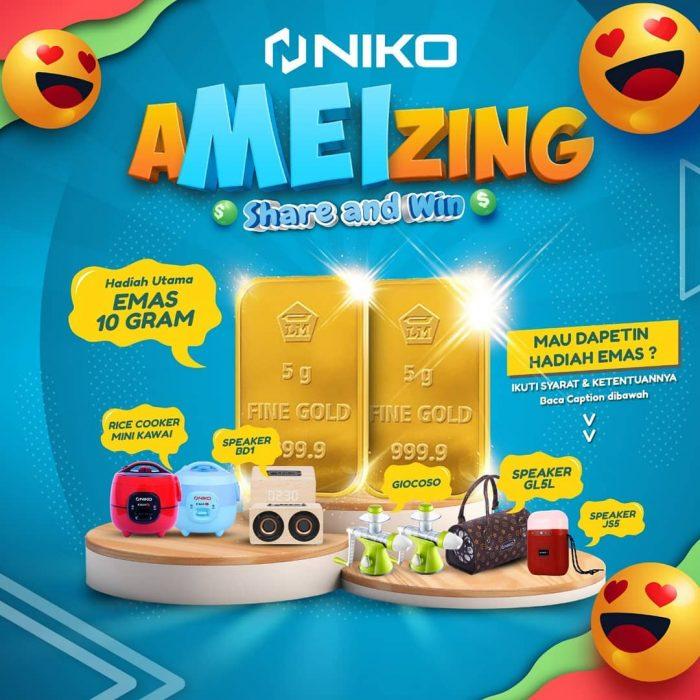 Kuis Niko Amazing Share and Win Berhadiah Emas, Speaker Niko, dll