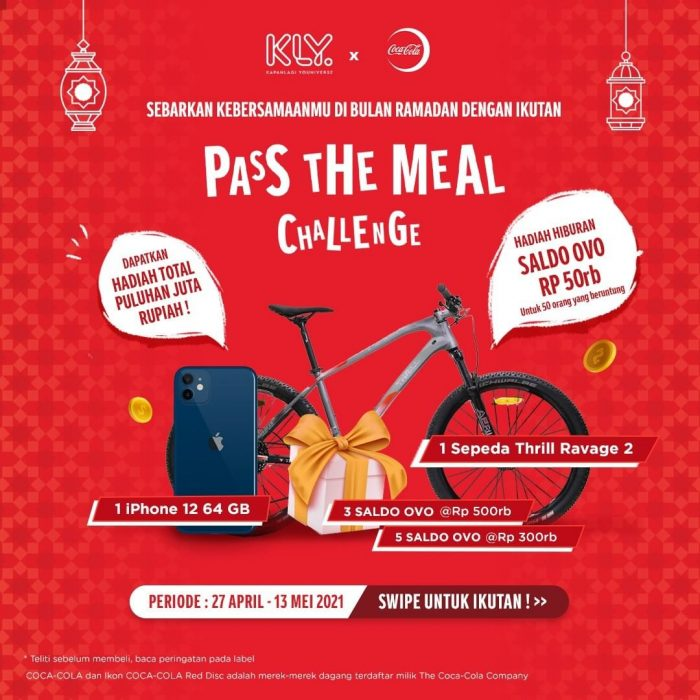 Pass The Meal Challenge Hadiah iPhone 12, Sepeda, dll