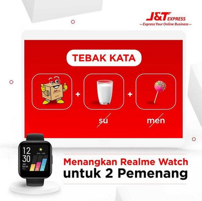 Kuis Tebak Kata J&T Express Berhadiah 2 unit Realme Watch Gratis