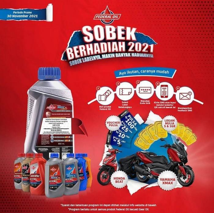 Promo Federal Oil Sobek Berhadiah 2021 Menangkan Motor, Emas & Pulsa