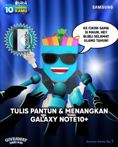 Kuis Pantun 10th Bareng Blibli Berhadiah 2 unit SAMSUNG Galaxy Note 10+