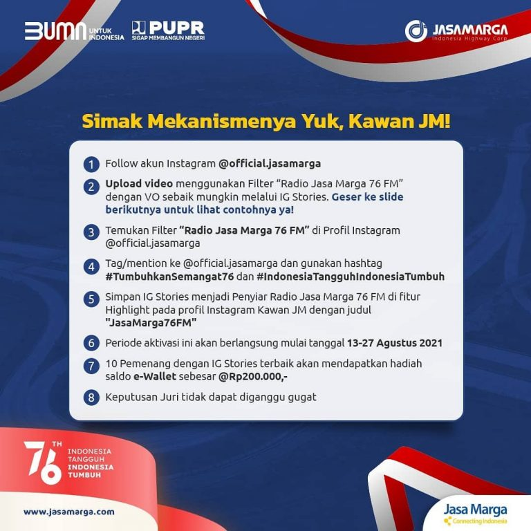 Mekanisme Lomba Video Penyiar Radio Jasa Marga Hadiah Saldo Total 2 Juta Rupiah
