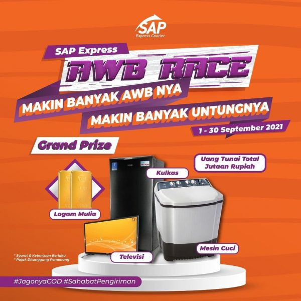 SAP Express AWB Race Berhadiah Emas, Uang, Kulkas, TV & Mesin Cuci