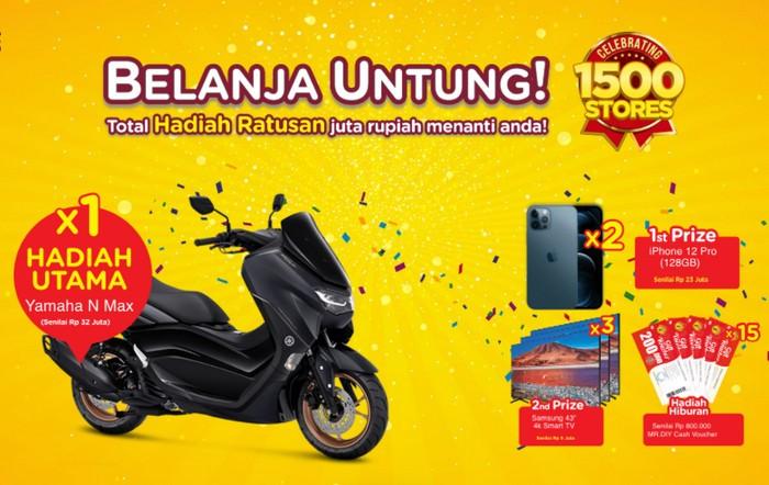 Undian Belanja Untung MR DIY Berhadiah Yamaha NMax, iPhone, TV, dll