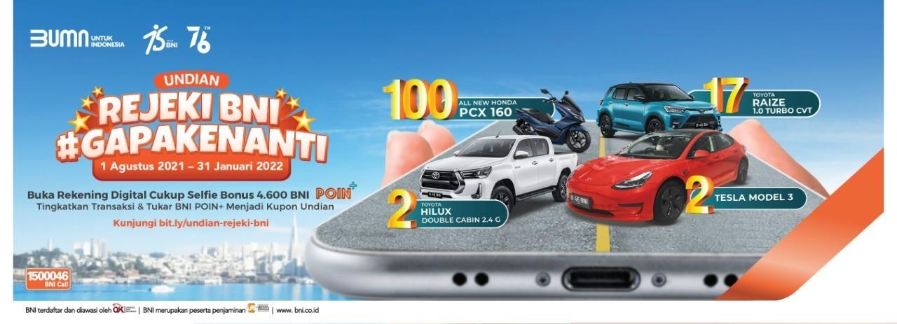 Undian Rejeki BNI Ga Pake Nanti Berhadiah Tesla Model 3, Toyota Hilux, dll